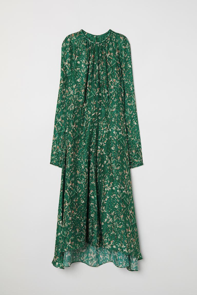 Spiksplinternieuw Silk Dress - Dark green/patterned - Ladies | H&M US HL-94