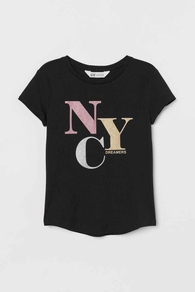 Printed jersey top - Black/NYC - Kids | H&M GB