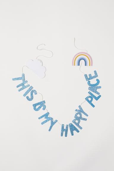 Letter bunting - Light blue/Glitter - Home All | H&M GB