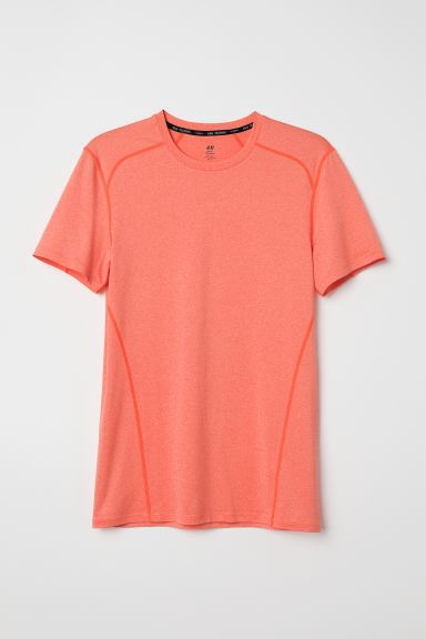 Short-sleeved sports top - Light orange marl - Men | H&M GB