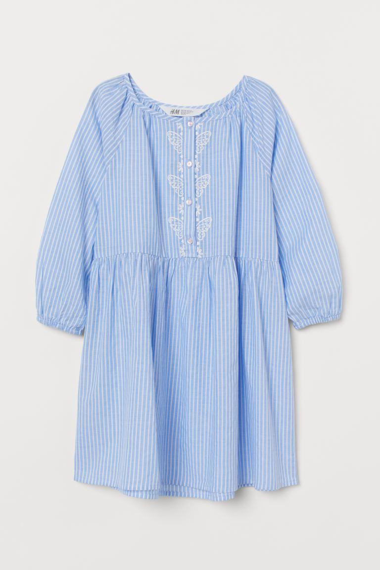Cotton dress - Light blue/White striped - Kids | H&M