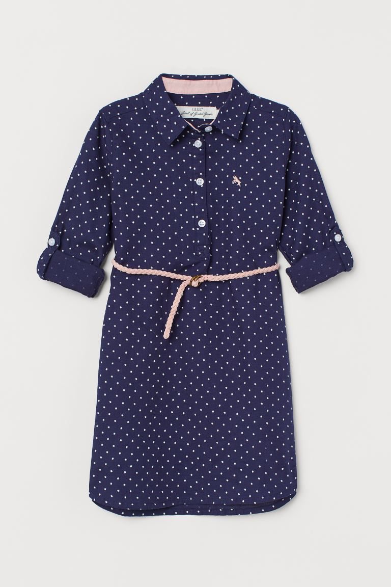 Cotton shirt dress - Dark blue/Spotted - Kids | H&M IN