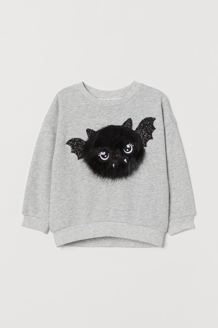 Sweatshirt with a motif - Ash grey/Bat - Kids | H&M IE