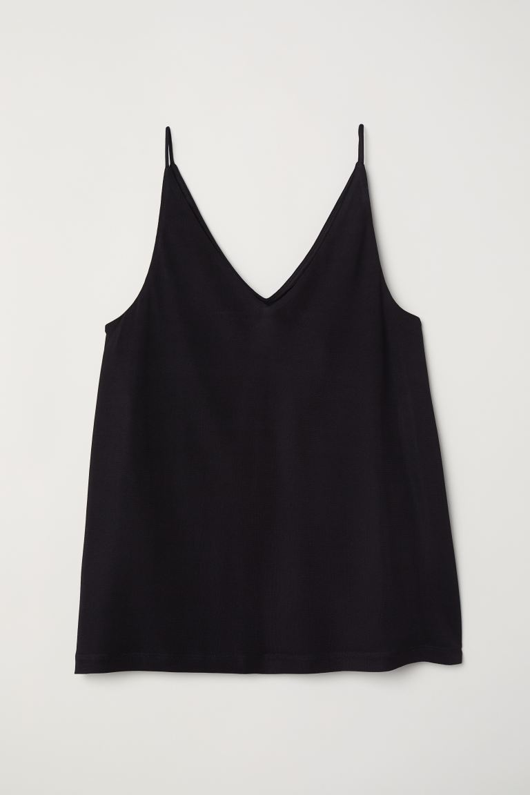 V-neck top - Black - Ladies | H&M GB