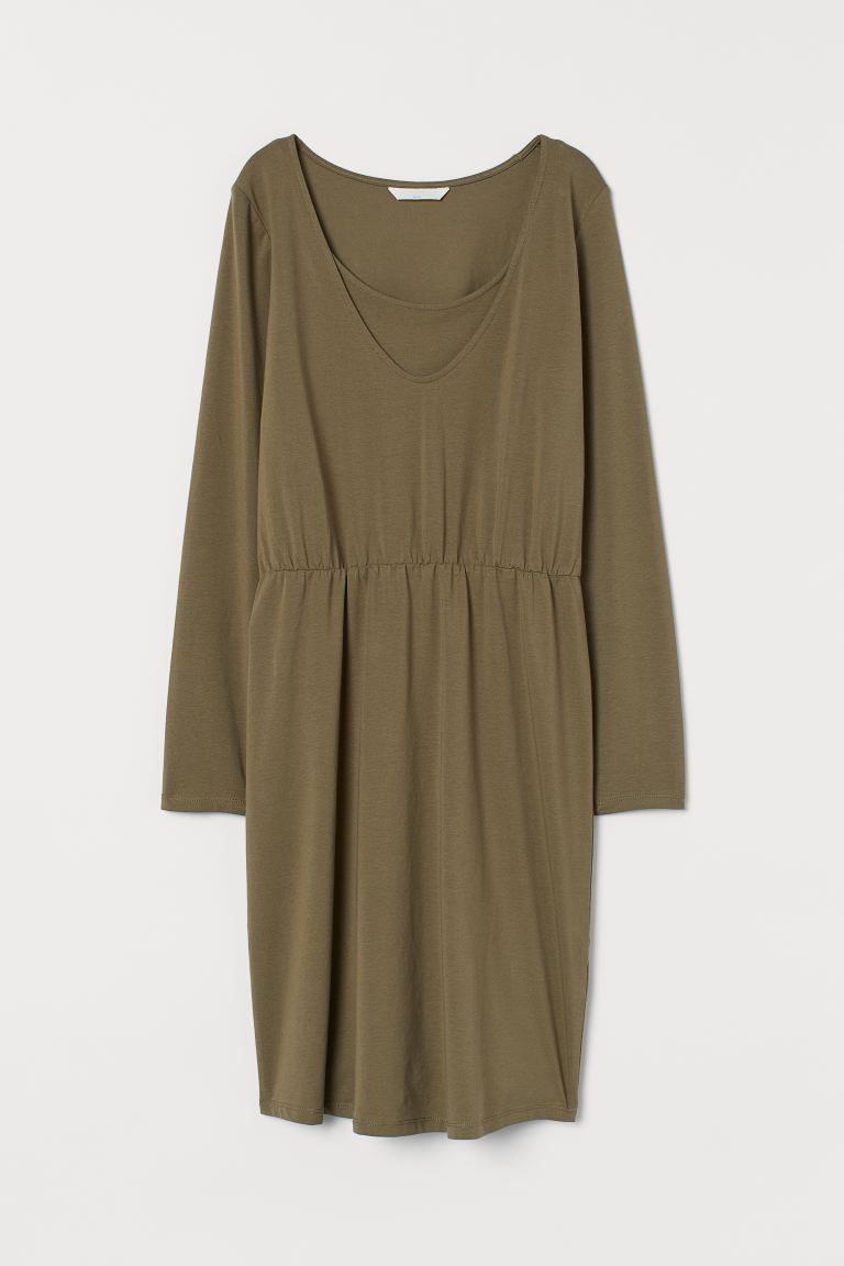 MAMA Nursing Dress - Khaki green - Ladies | H&M US
