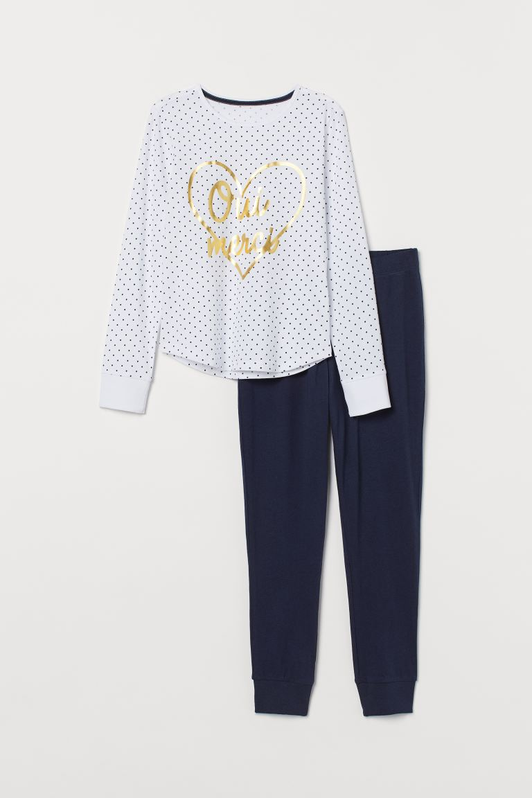 Jersey pyjamas - White/Oui Merci - Kids | H&M IN