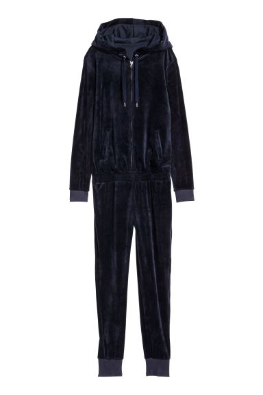 Velour Jumpsuit Dark Blue Ladies H M Us