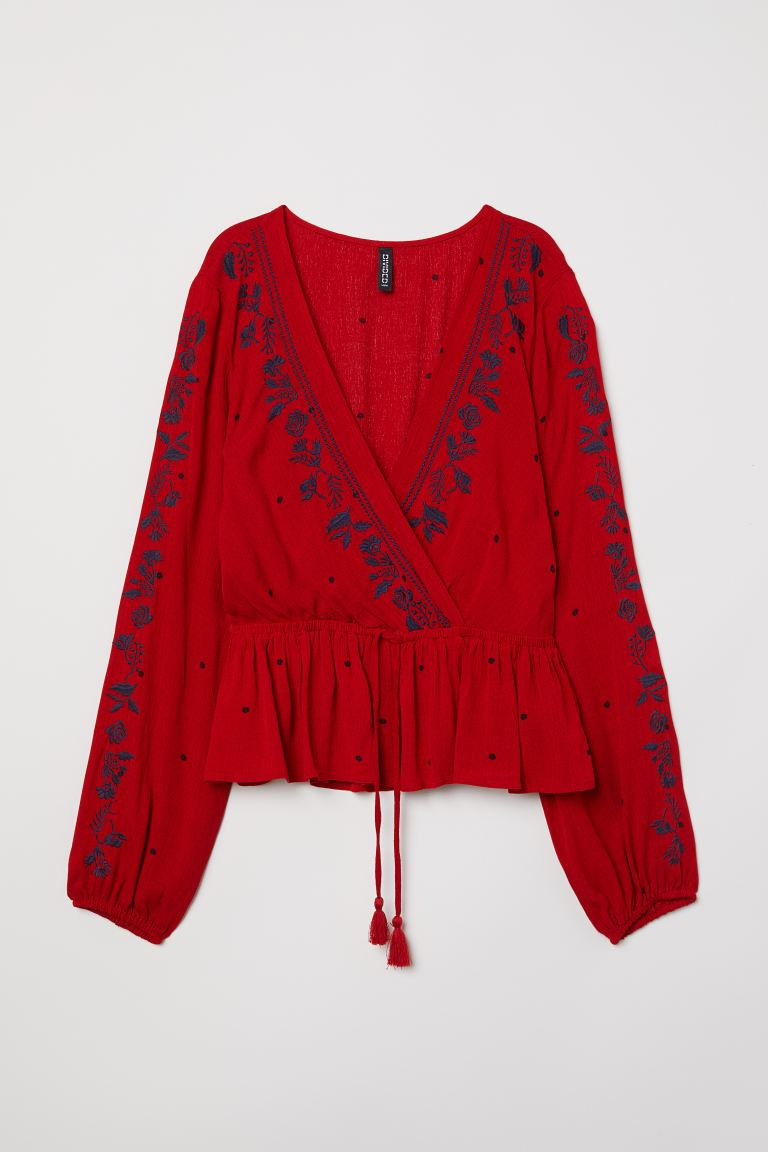 V-neck embroidered blouse - Red - Ladies | H&M GB