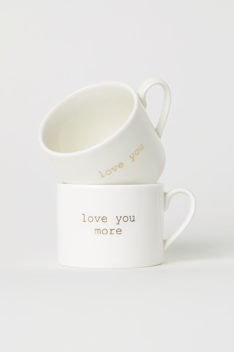 2er-Pack Porzellantassen - Weiss/Love you - HOME | H&M CH
