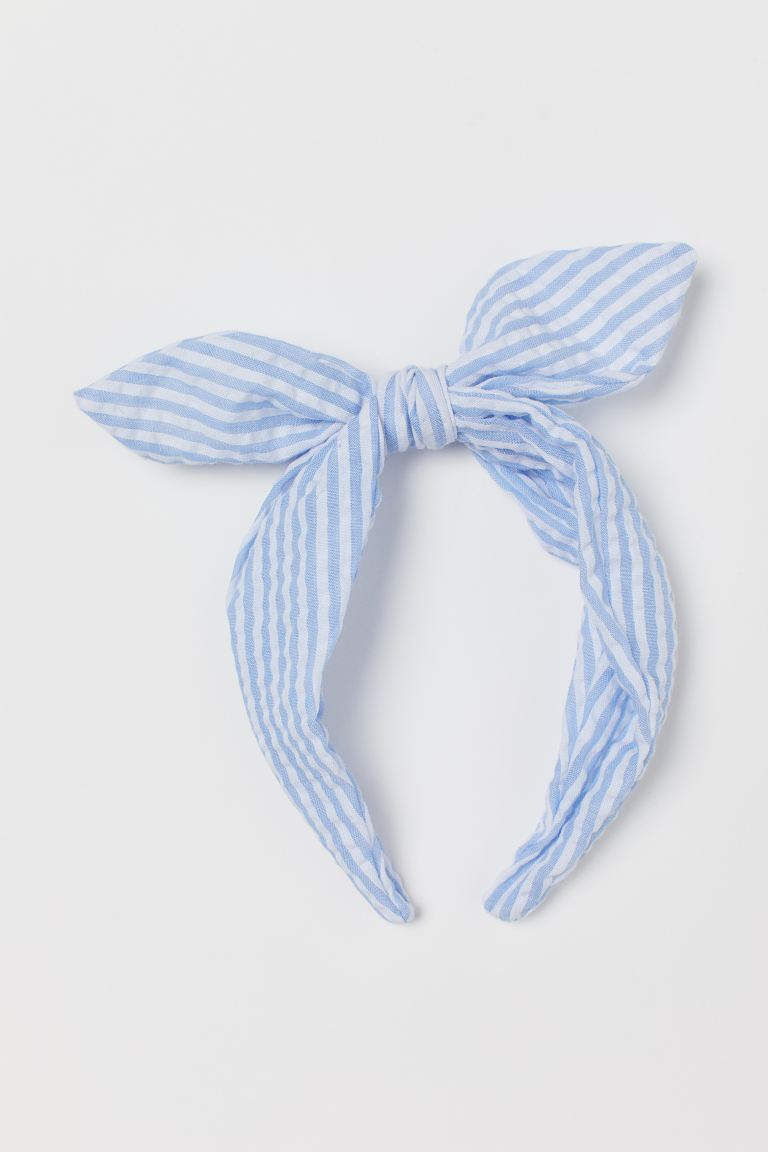 Bow-top Alice band - Light blue/Striped - Kids | H&M GB