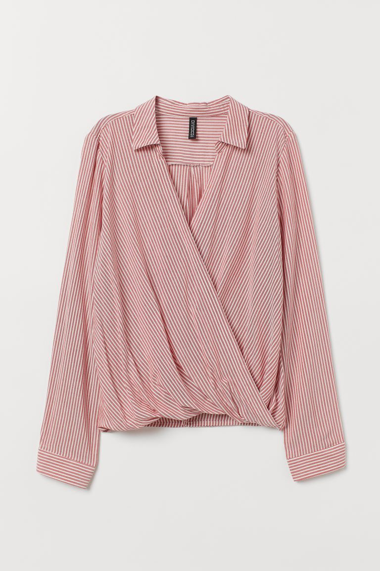 Wrapover blouse with a collar - Light red/White striped - Ladies | H&M GB
