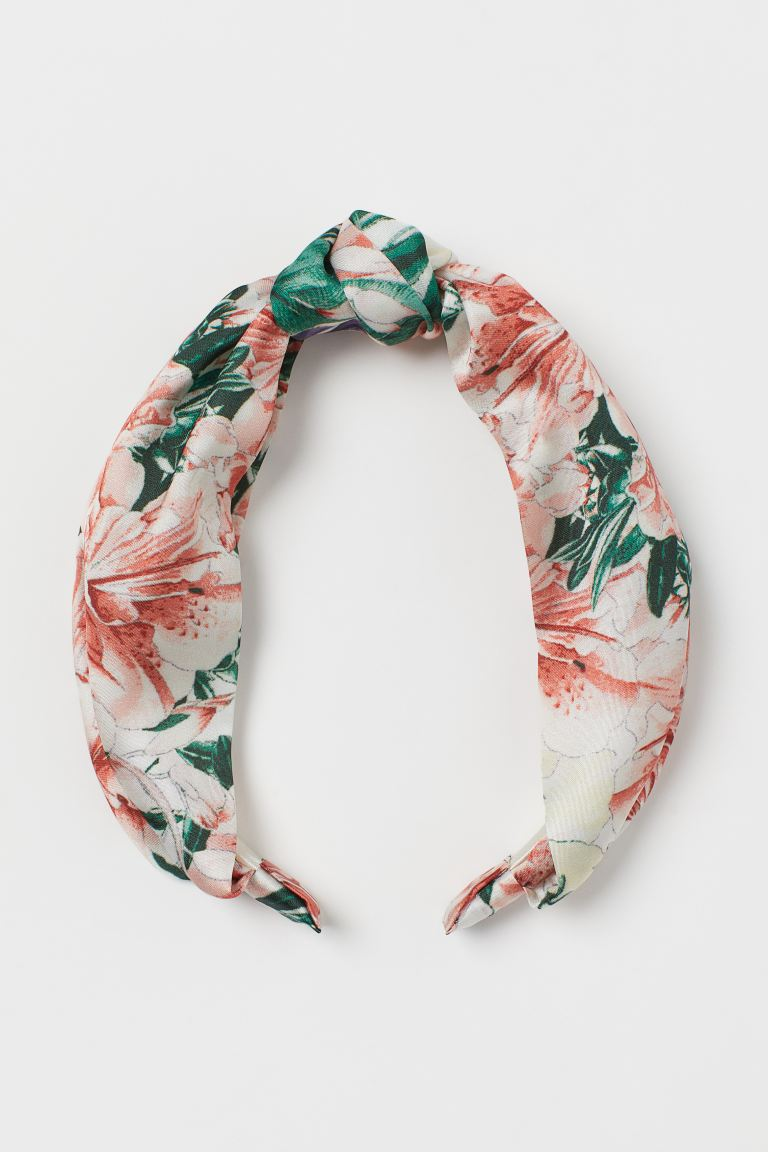 Hairband with Knot - Light orange/floral - Ladies | H&M CA