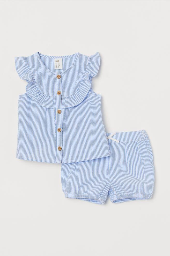 Cotton 2 Item Set-Light Blue / Stripe-Kids | H&M JP 1
