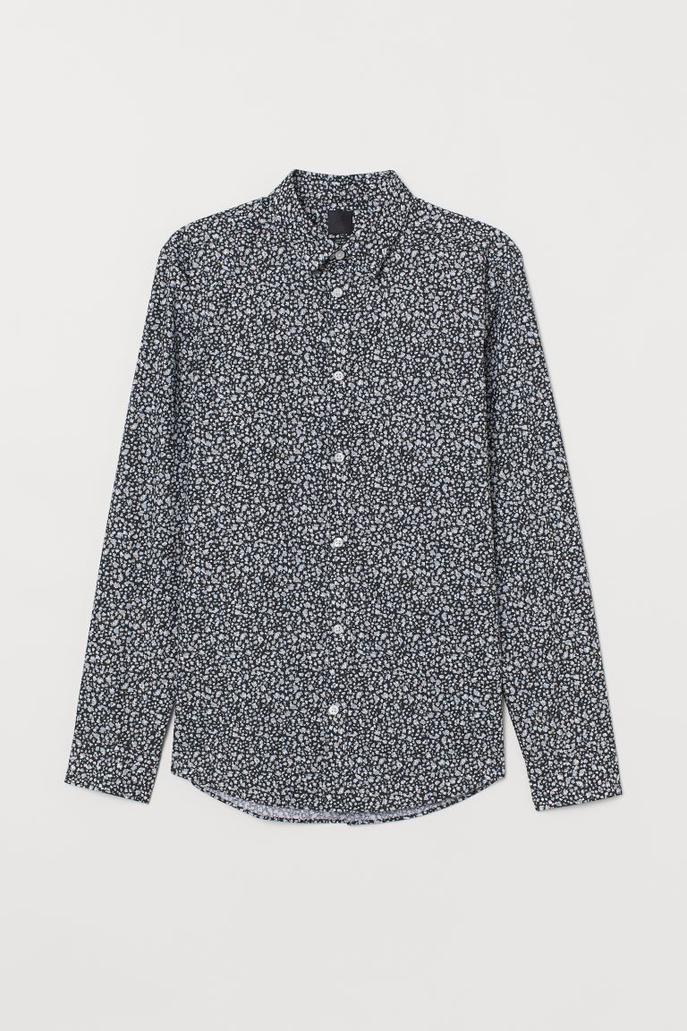 Easy-iron shirt Slim Fit - Black/Floral - Men | H&M IN
