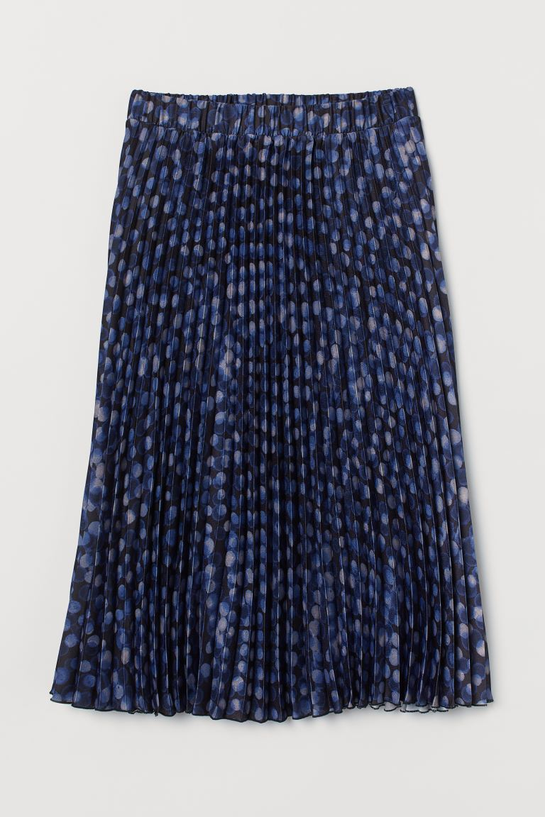 Pleated Skirt - Black/blue dotted - Ladies | H&M CA