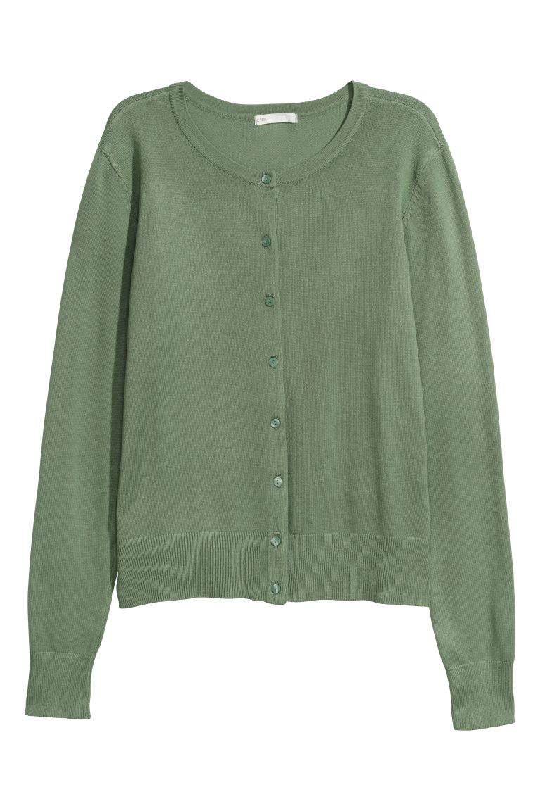 Fine-knit cardigan - Light khaki green - Ladies | H&M IN