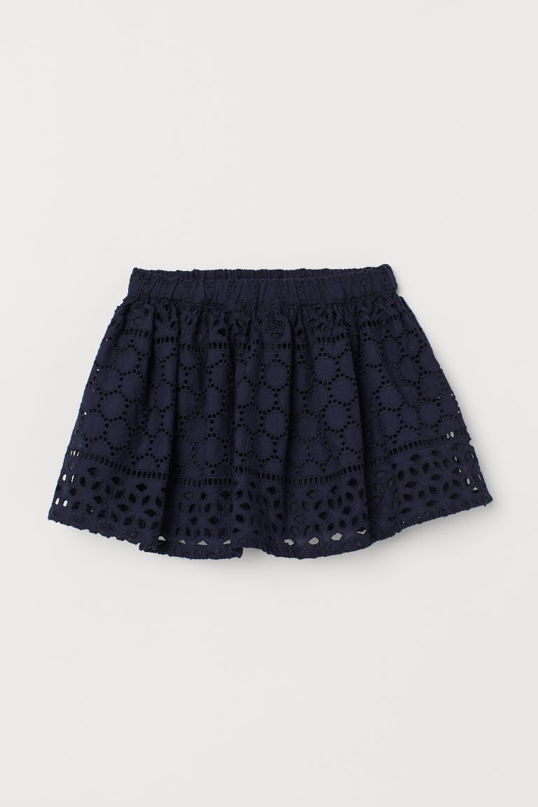 Skirt with broderie anglaise - Navy blue - Kids   H&M GB