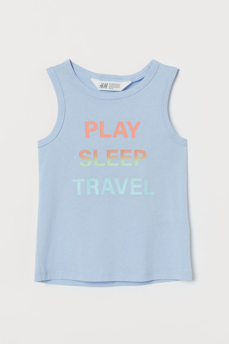 Printed vest top - Light blue/Play - Kids | H&M IE