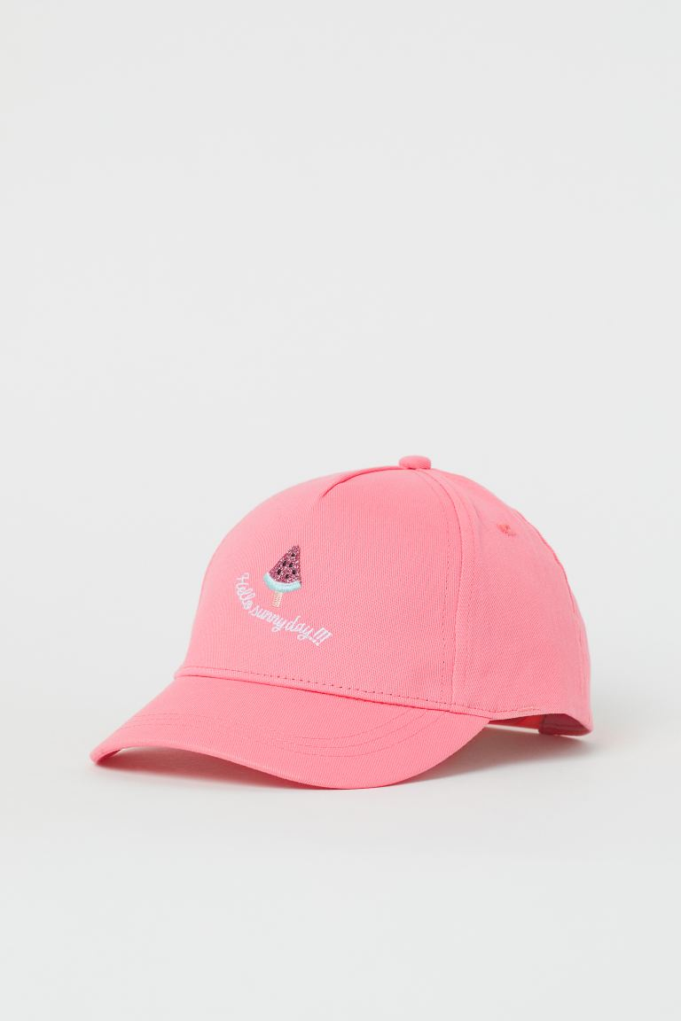 Appliquéd twill cap - Coral pink/Watermelon - Kids | H&M