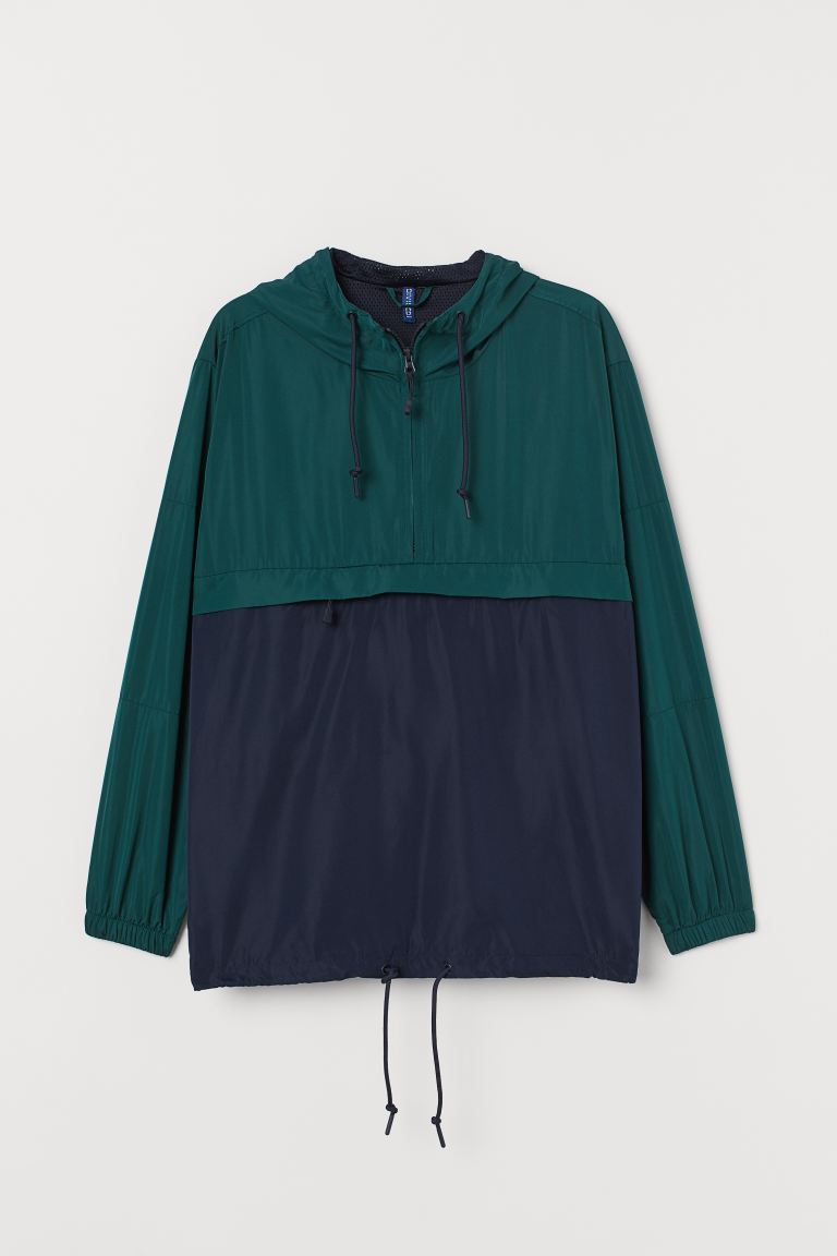 Hooded Anorak - Dark green/dark blue - Men | H&M US