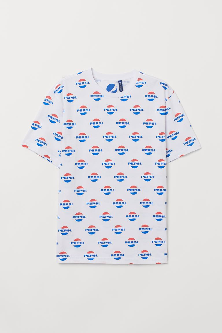 T-shirt with a motif - White/Pepsi - Men | H&M