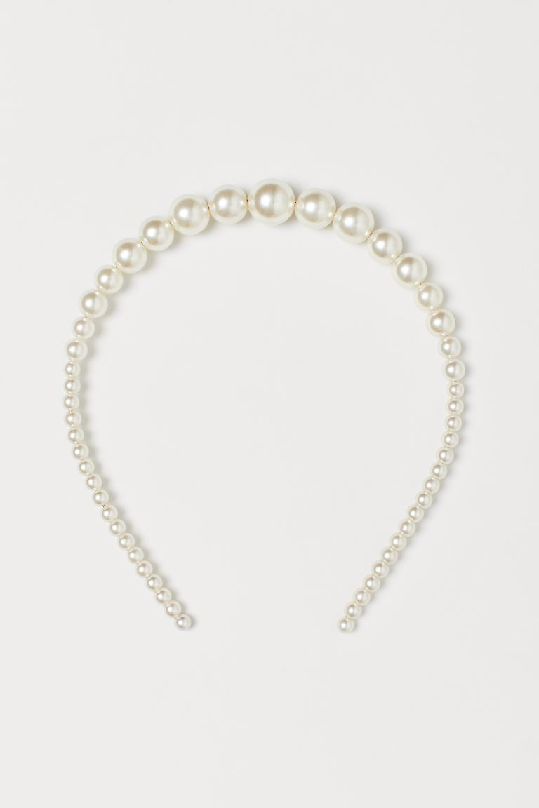 Beaded Hairband - Cream/beads - Ladies | H&M US