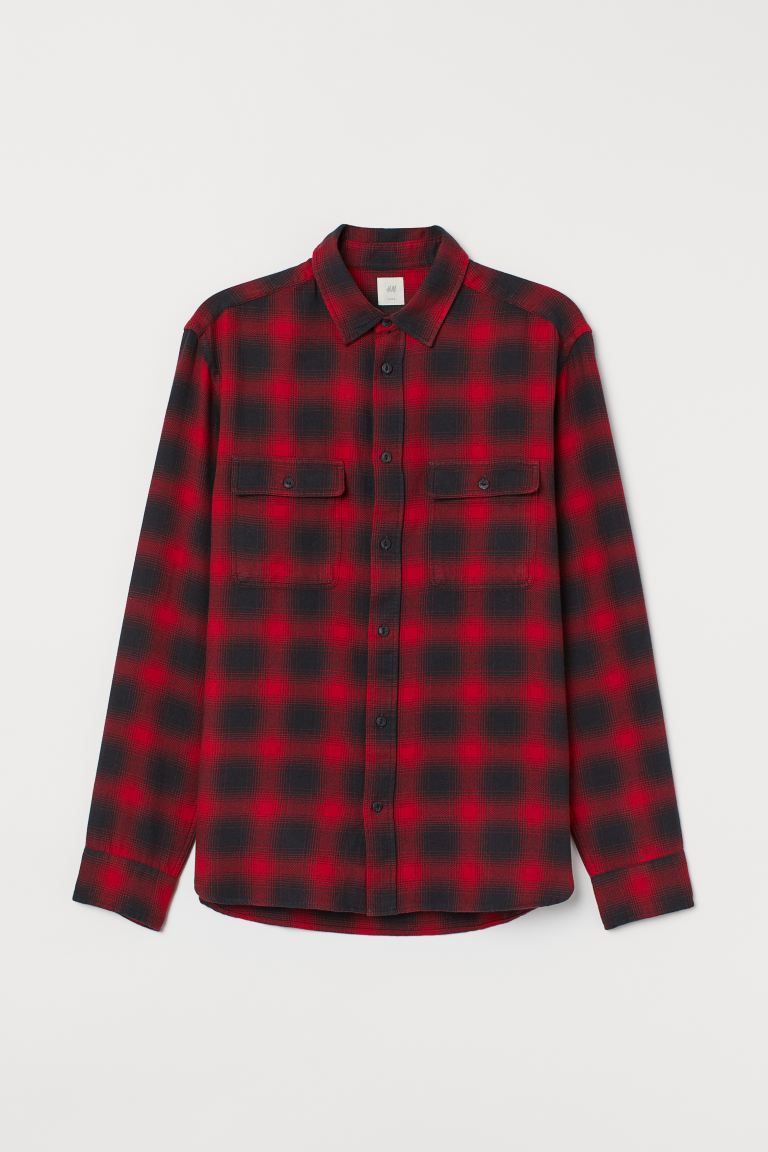 Cotton shirt Regular Fit - Red/Checked - Men | H&M