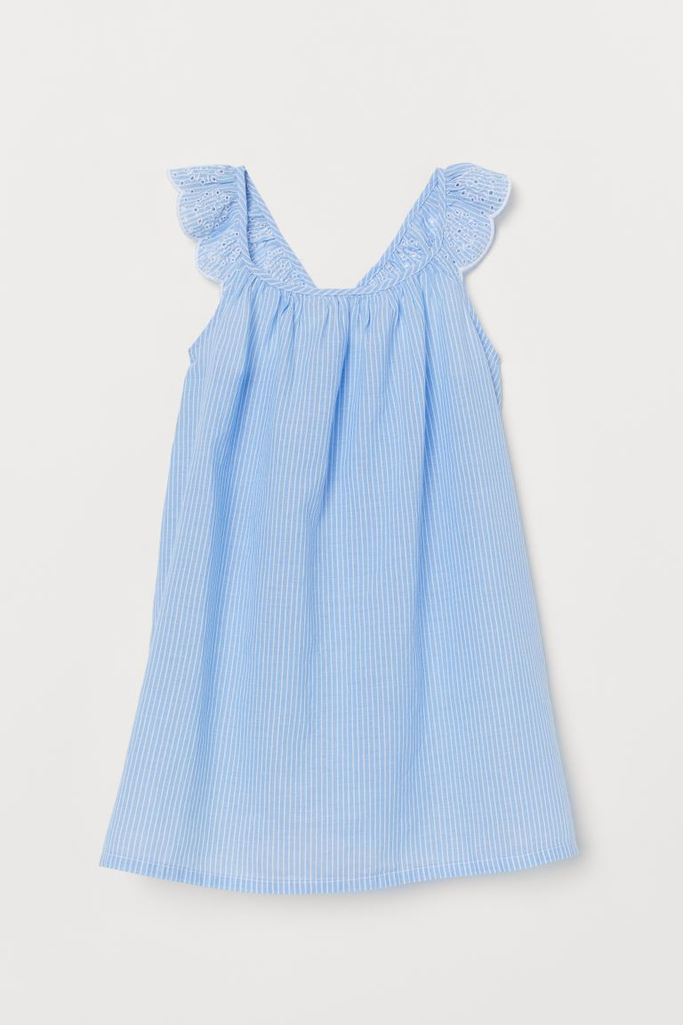 Dress with embroidery - Blue/White striped - Kids | H&M GB