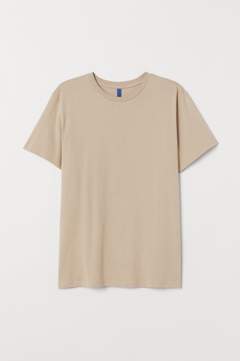 Round-neck T-shirt Regular Fit - Beige - Men | H&M