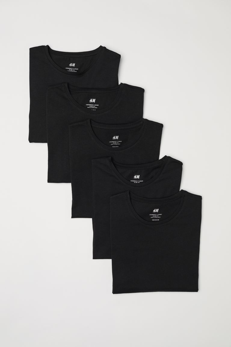 5-pack t-shirt Slim Fit - Svart - HERR | H&M SE