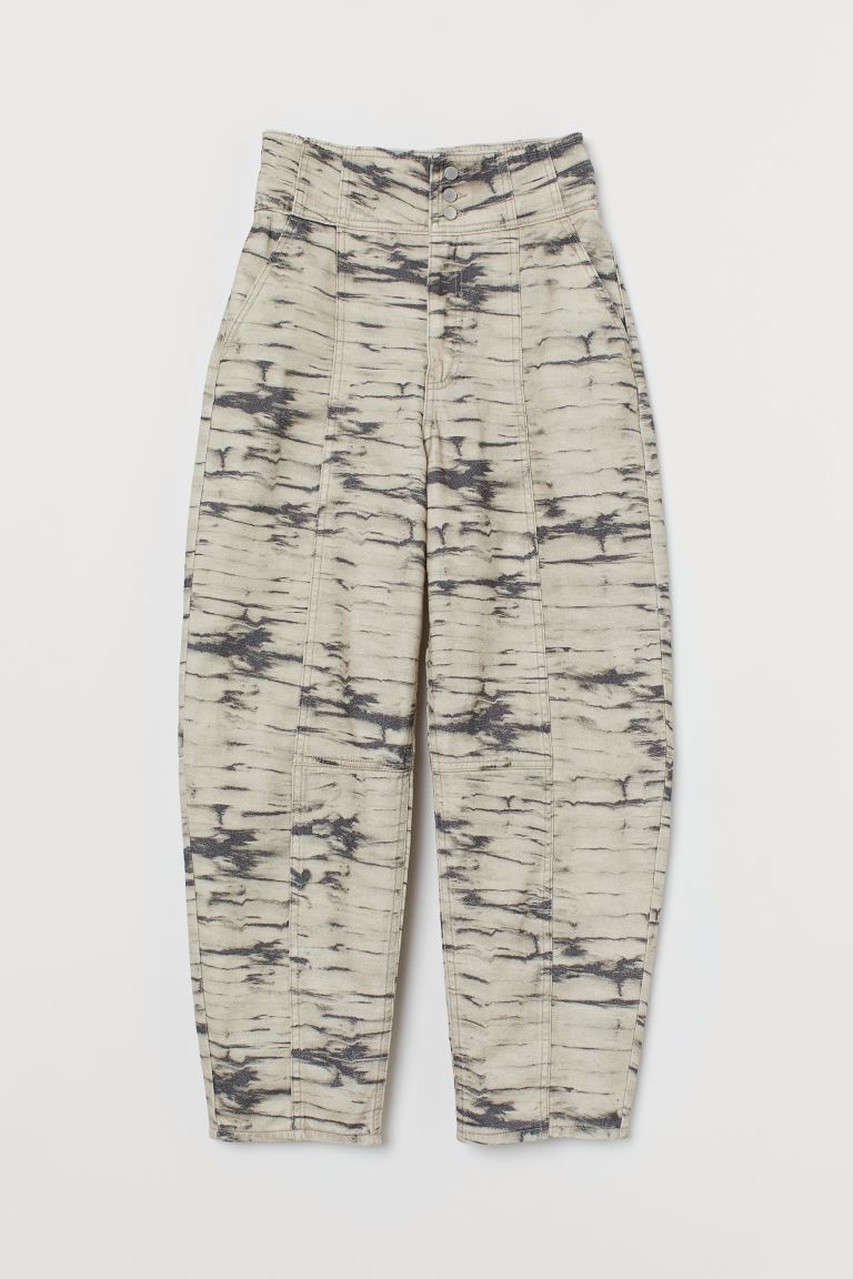 Tapered High Waist Jeans - Bege/Estampado - SENHORA | H&M PT