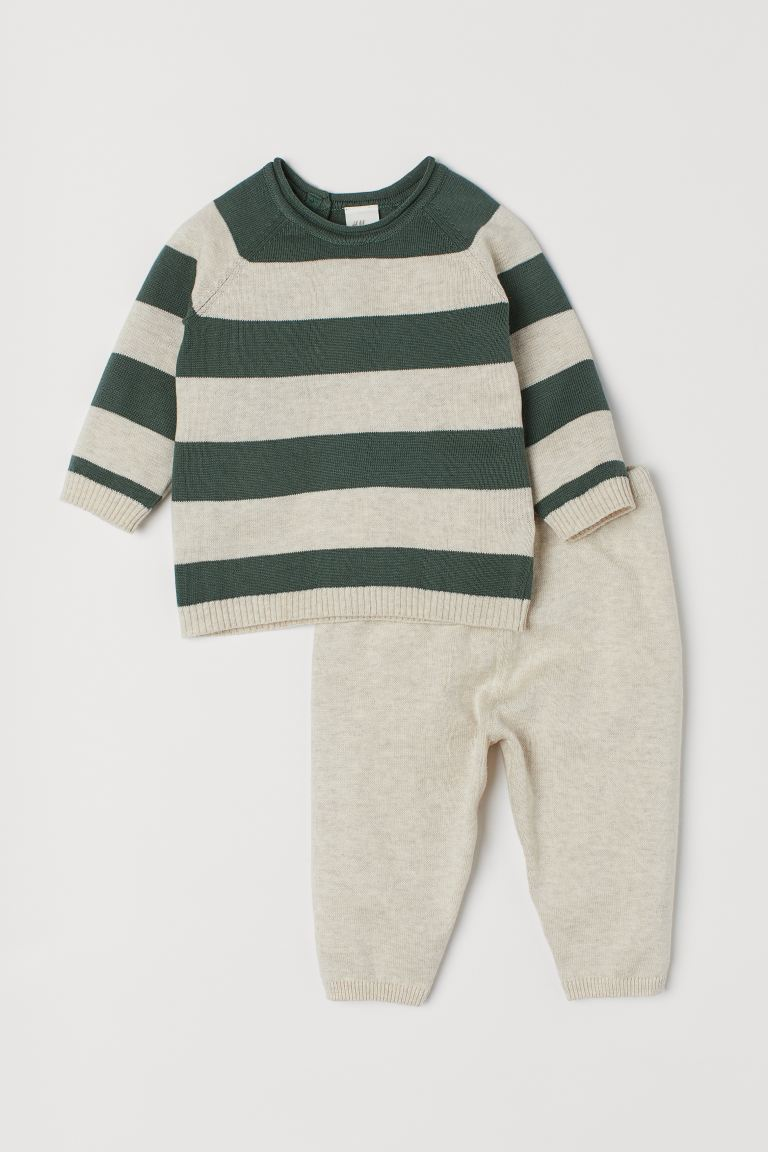 Sweater and Pants - Beige/green striped -  | H&M US