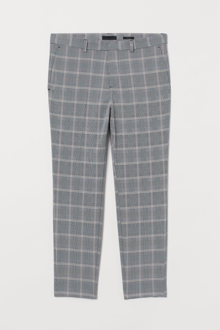 Suit trousers Skinny Fit - Dark grey/Checked - Men | H&M