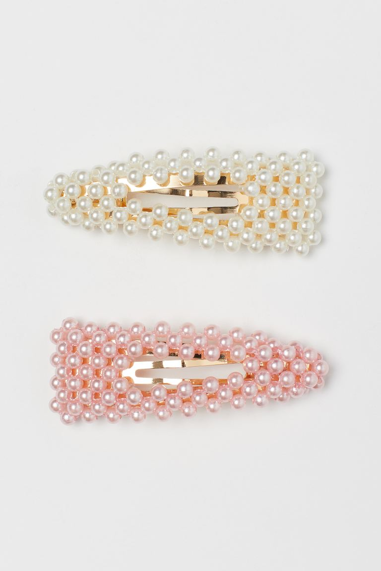 2-pack hair clips - Light pink/White - Kids | H&M IN