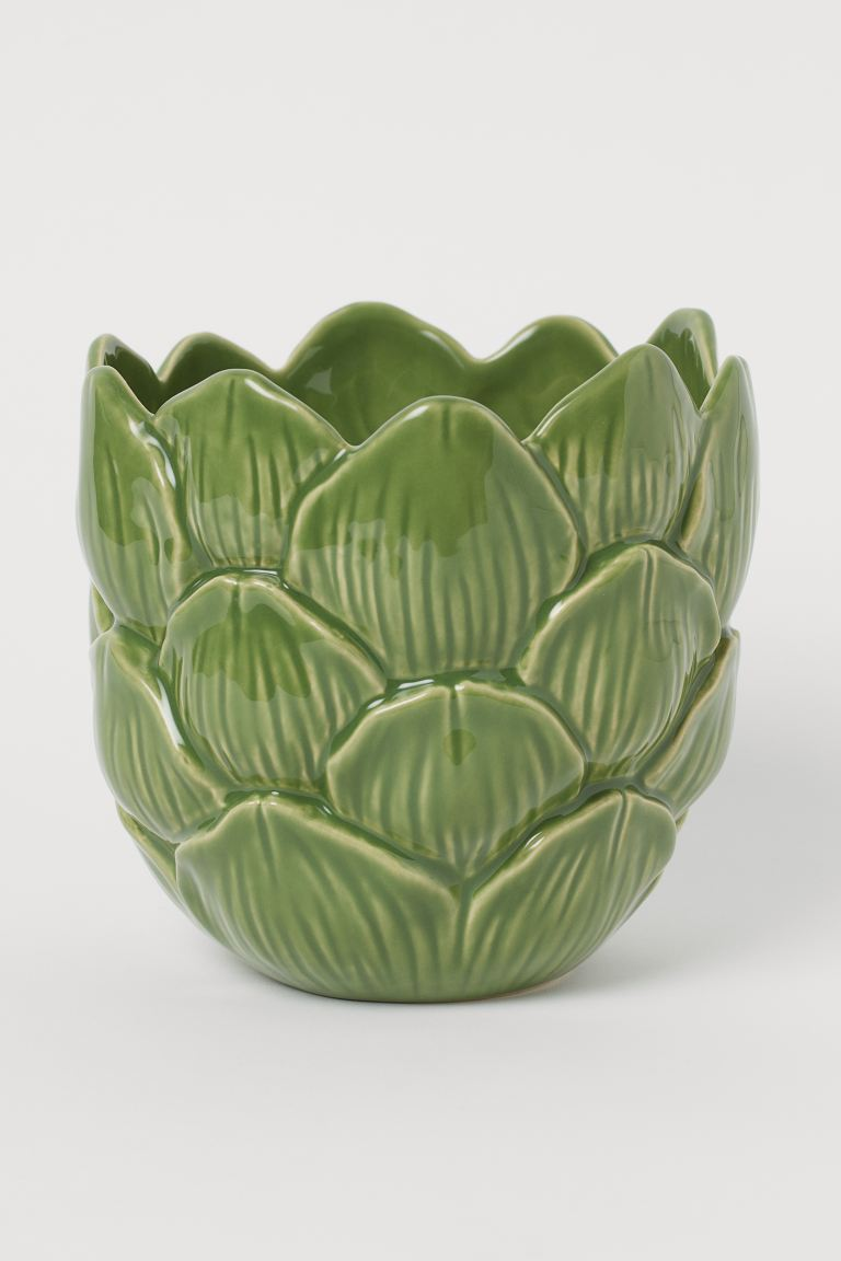 Ceramic plant pot - Green - Home All | H&M GB