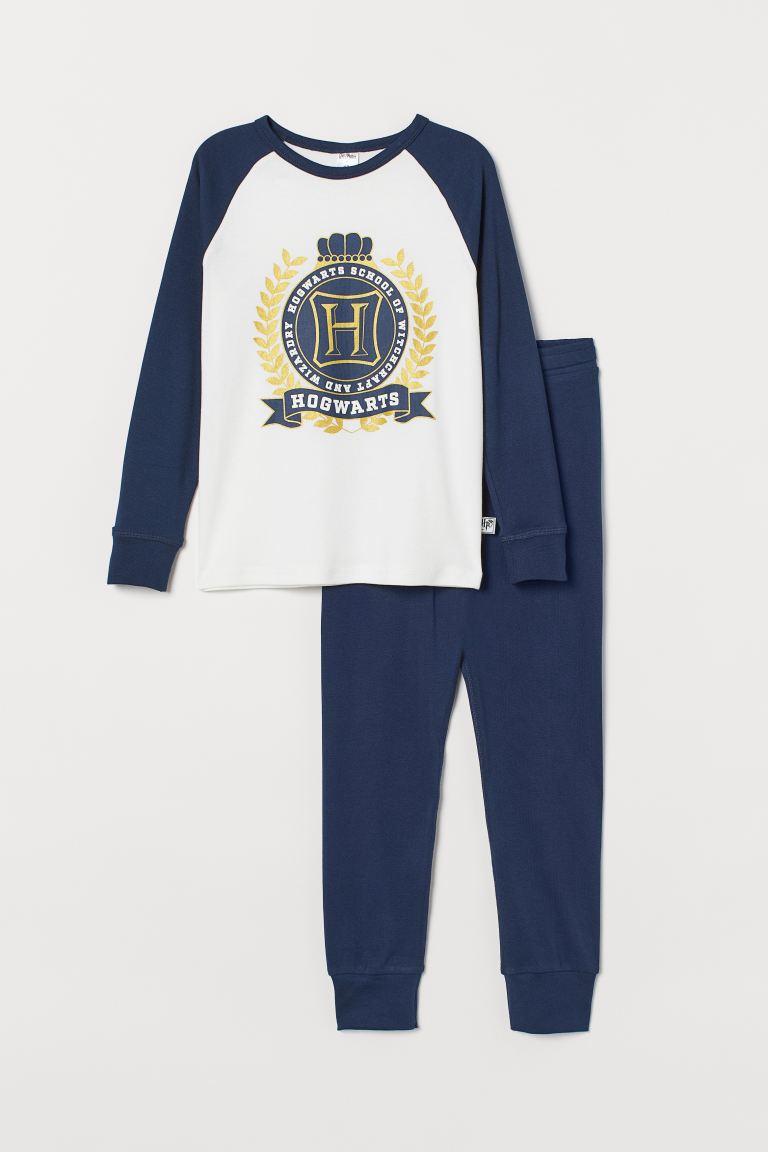 Gold-coloured-print pyjamas - Dark blue/Hogwarts - Kids | H&M GB