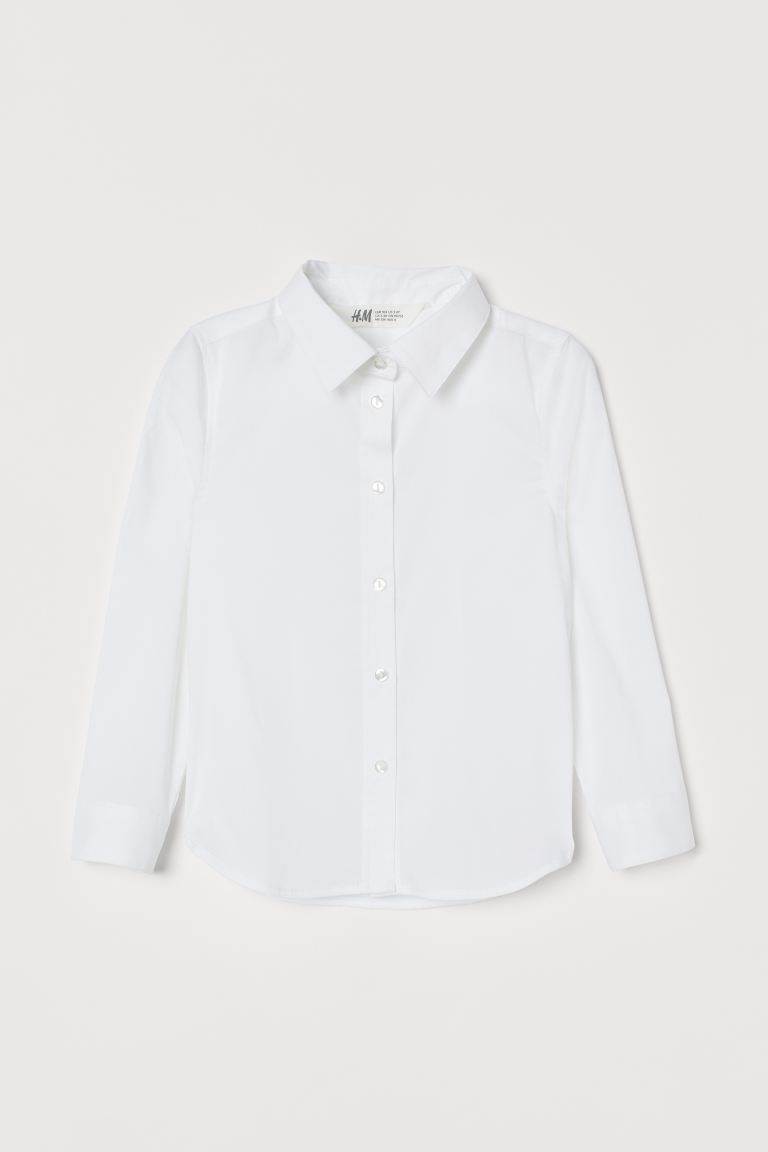 Cotton-blend shirt - White - Kids   H&M GB
