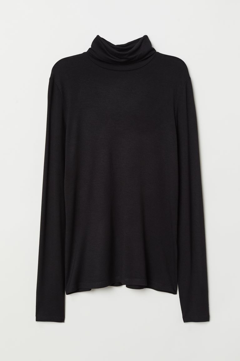 Jersey Turtleneck Top - Black - Ladies | H&M US