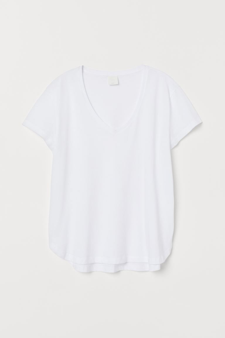 V-neck Cotton T-shirt - White - Ladies | H&M US