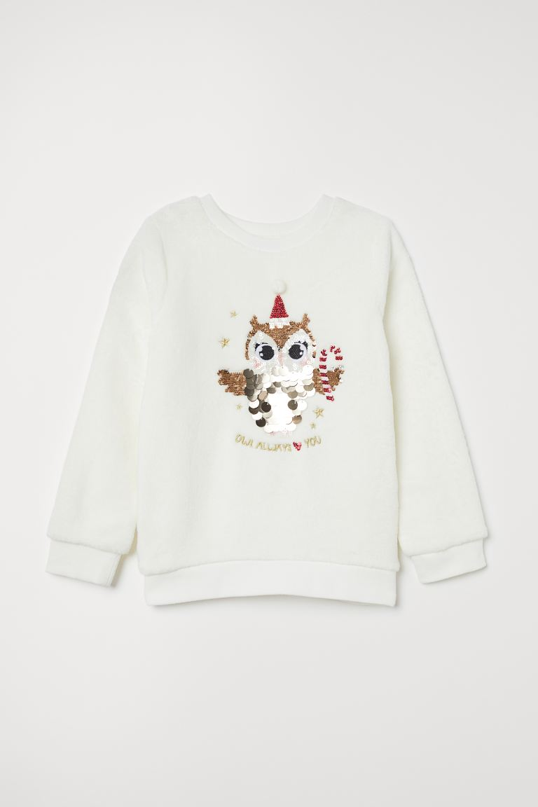Top with sequins - White/Owl - Kids | H&M GB