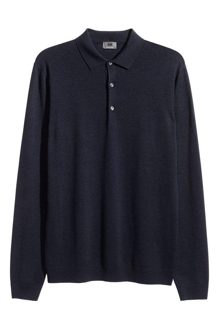 Merino wool jumper - Dark blue - Men | H&M IE