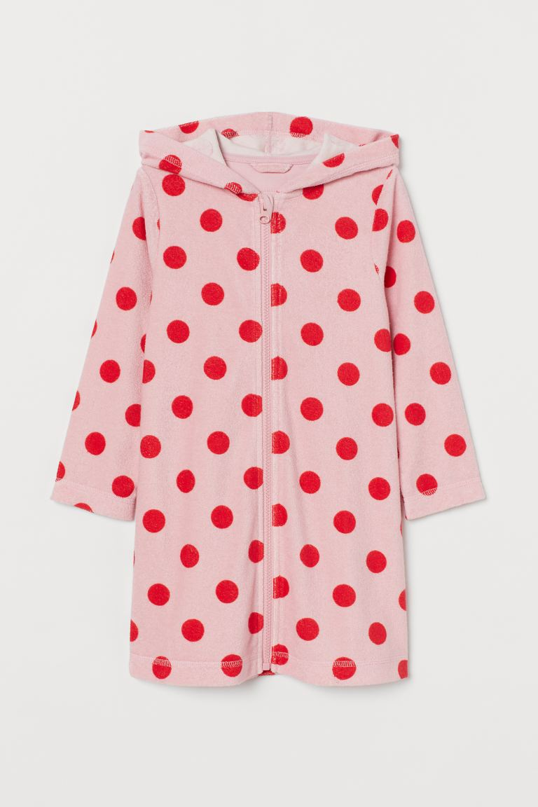 Hooded dressing gown - Pink/Red spotted - Kids | H&M