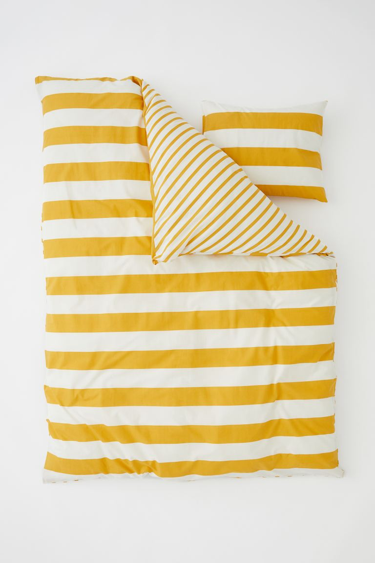 Striped Duvet Cover Set - Yellow/natural white - Home All | H&M CA