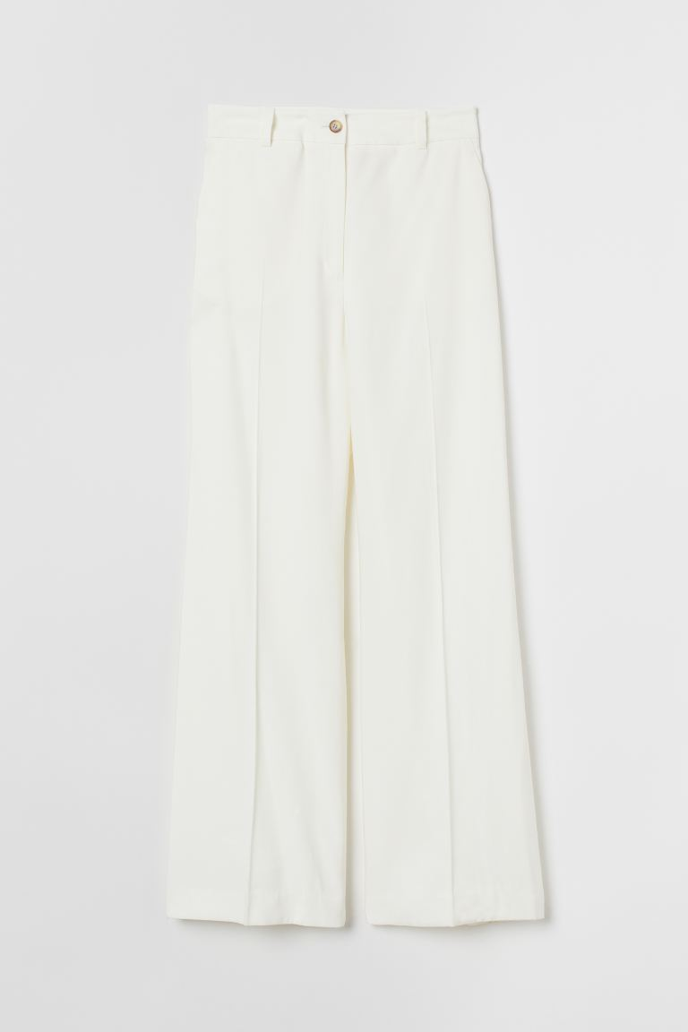 Wide suit trousers - Cream - Ladies | H&M GB