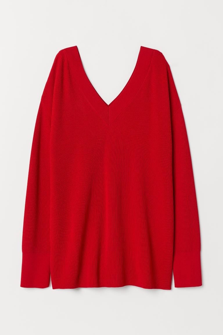 Ribbed Sweater - Red - Ladies | H&M CA