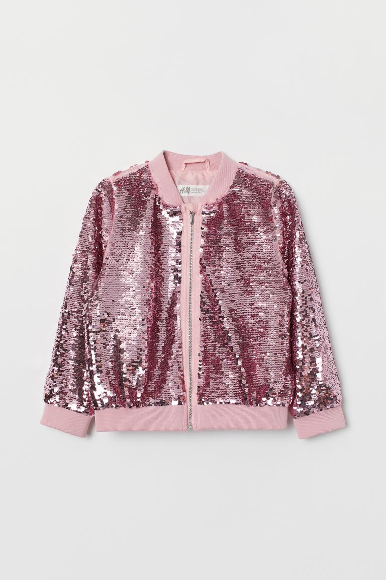 Bomber jacket with sequins - Pink/Silver-coloured - Kids | H&M GB