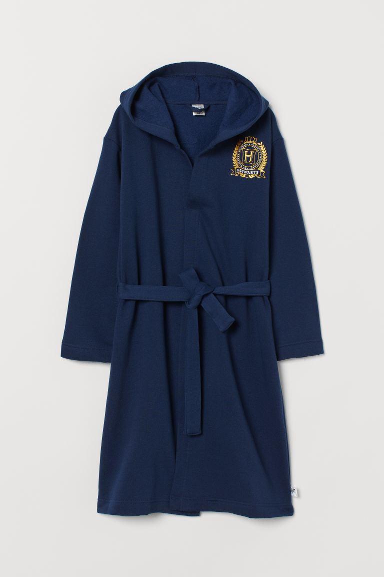 Printed dressing gown - Navy blue/Hogwarts - Kids | H&M GB