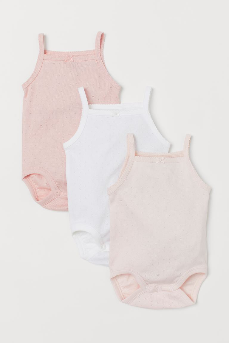 3-pack Cotton Bodysuits - Light pink/white - Kids | H&M CA