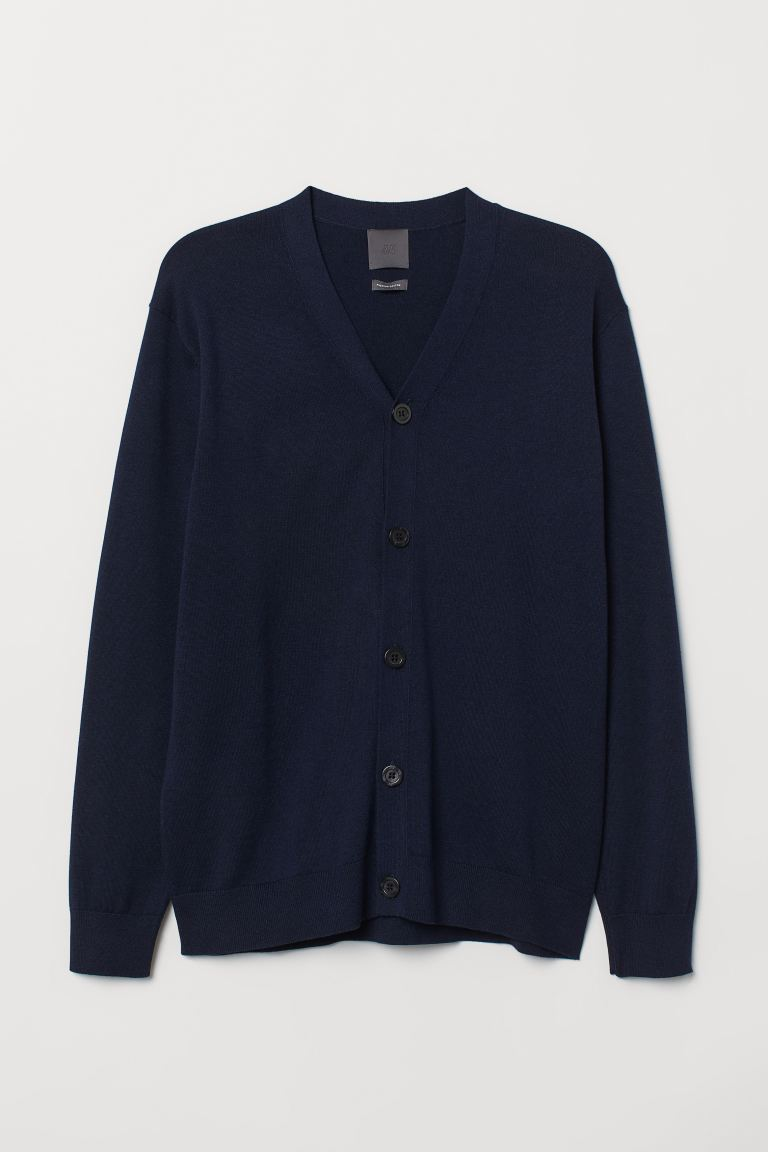 Pima Cotton Cardigan - Dark blue melange - Men | H&M US