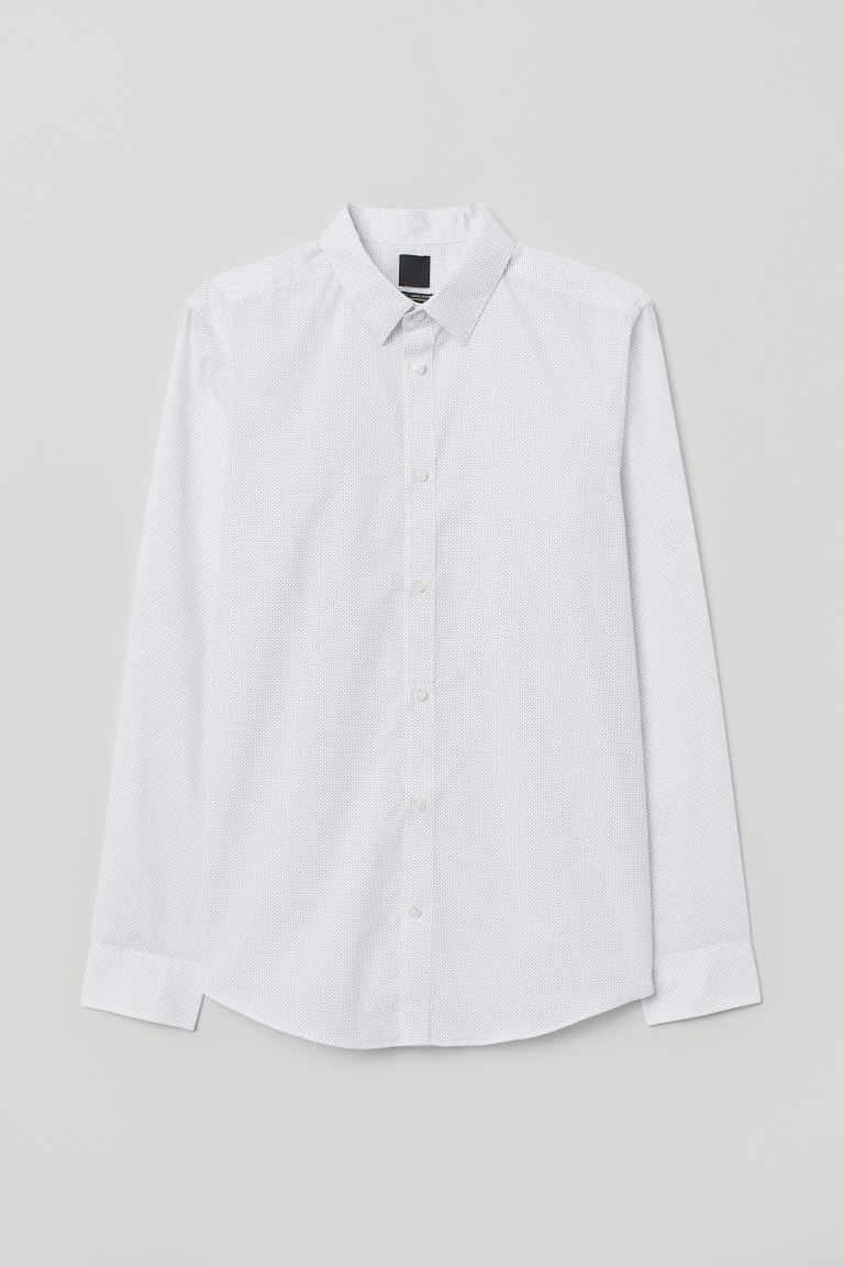 Camisa Easy-iron Slim fit - Blanco/Lunares negros - Men | H&M US